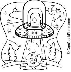 A cartoon green alien in a spaceship abducting a sheep.