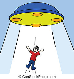 Alien abduction - Cartoon illustration showing a man being...