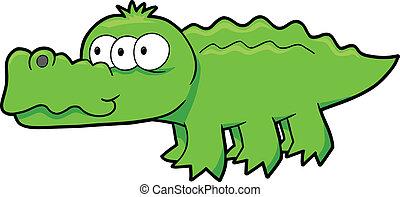 Alien Alligator Vector Illustration