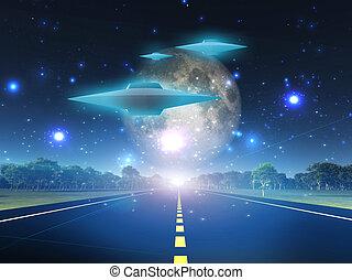 alien, ambacht, op, rijbaan, in, land