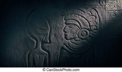Alien And Aztec Man Carving In Ancient Temple - Beam of...