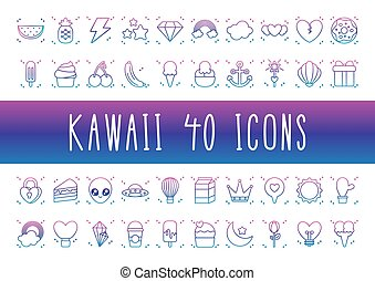 alien and kawaii icon set, gradient line style