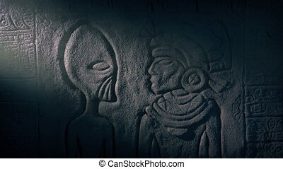 Alien And Mayan Priest Wall Art In Dusty Tomb - Mayan rock...