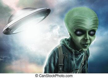 Alien and UFO over dark background