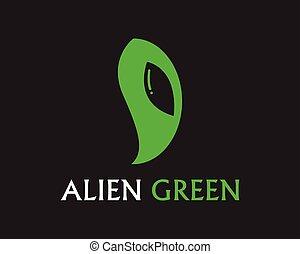 alien, app, gezicht, symbolen, vector, mal, logo, pictogram