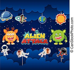 Alien attack poster design with aliens and astronauts