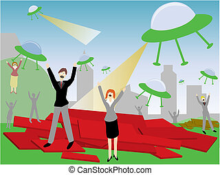 Alien Attack - Humans under alien attack in the form of...