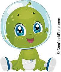 Alien Baby Boy Diaper - Illustration Featuring a Male Baby...