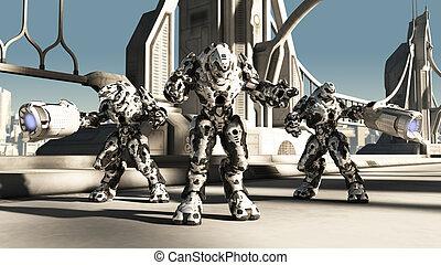 Alien Battle Droids - Futuristic science fiction battle...