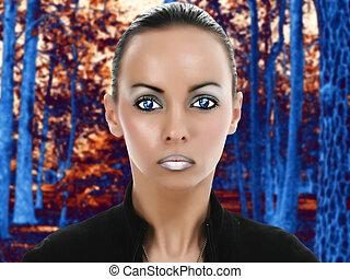 Alien Beauty - Beautiful young alien woman in fantasy sci-fi...