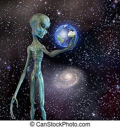 Alien being ponders earth