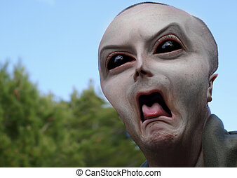 Alien Being - Portrait of a scary alien or extraterrestial ...