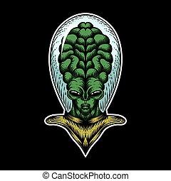 alien big head vector illustration