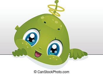 Alien Blank Board - Board Illustration Featuring a Cute Baby...