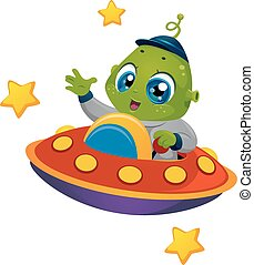 Alien Boy Spaceship - Illustration Featuring an Alien Boy...