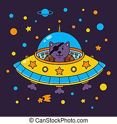 Alien cat pirate in a spaceship in a star galaxy. Cute cosmonaut cat in outer space. Vector illustration on the space theme in childish style.