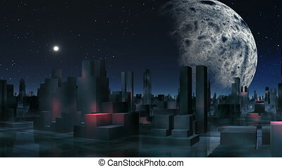 Alien city and major planet