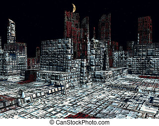 Alien City - fantasy urban structures 3d rendering - Alien...