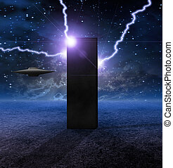 Alien Craft Approaches Monolith