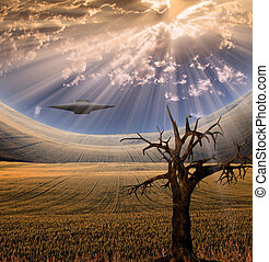 Alien craft in landscape