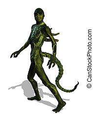 Alien Creature - A reptilian alien takes a walk - 3d render.