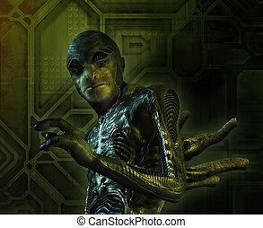 Portrait of a lizard-like alien - 3D render with digital painting.