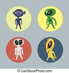 Alien creatures and monsters set fl
