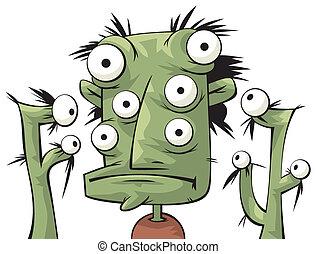 Three green heads of alien creatures