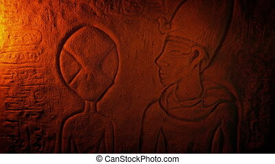 Alien Depiction In Ancient Egypt Carving - Egyptian wall art...