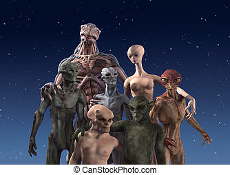 Alien Diversity: Group Portrait - A group of seven alien...
