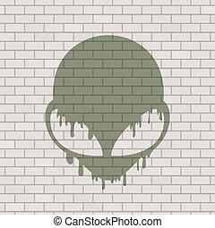 alien draw in brick background