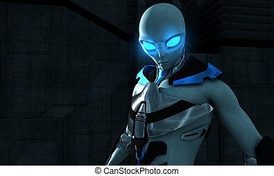 Alien - 3d illustration of a futuristic alien