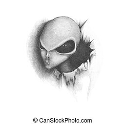 alien - black and white image alien, looking out of paper