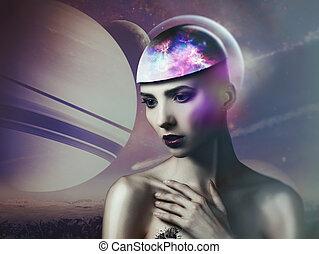 Alien dreams. Fairy female portrait. NASA imagery used