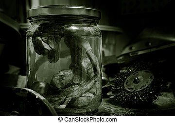 Alien Embryo In A Jar - alien embryo in a jar on work bench...