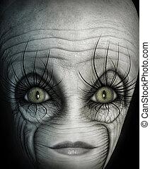 Alien Face - Digital Illustration of an alien.