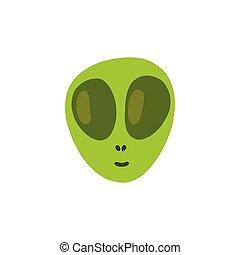 alien face doodle icon, vector color illustration