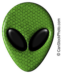 Alien Face With Green Scales