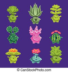 Alien Fantastic Plant Characters With Succulent Vegetation...