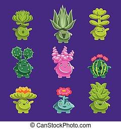 alien, fantastisch, plant, karakters, met, succulent,...