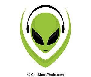 alien, gezicht, pictogram
