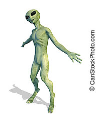 Alien Greeting - An alien offers a friendly greeting - 3D...