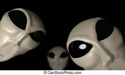Alien grey heads faces creepy extraterrestrial gray...