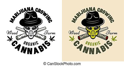 Alien head and weed joint vector emblem two styles