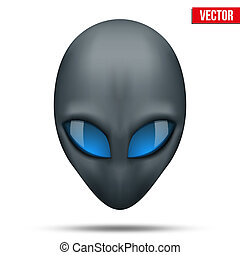 Alien head creature from another world. Vector illustration isolated on white background.