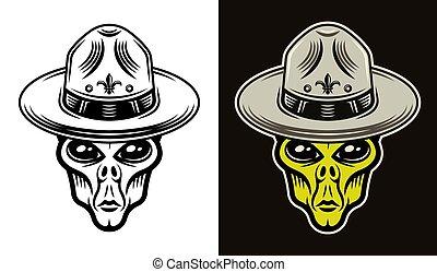 Alien head in boy scout hat two styles vector