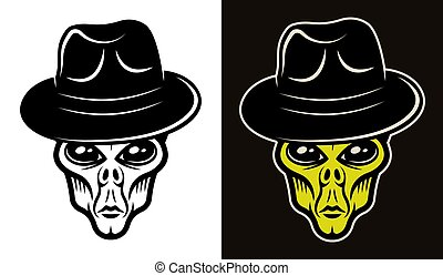Alien head in hat two styles black and colorful