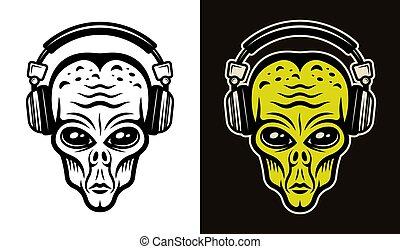Alien head in headphones two styles vector objects