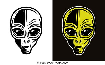 Alien head vector in two styles black and colorful