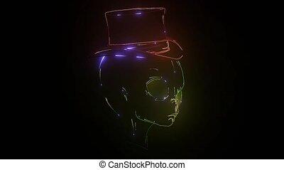 Alien head with glowing eyes on a dark background. video